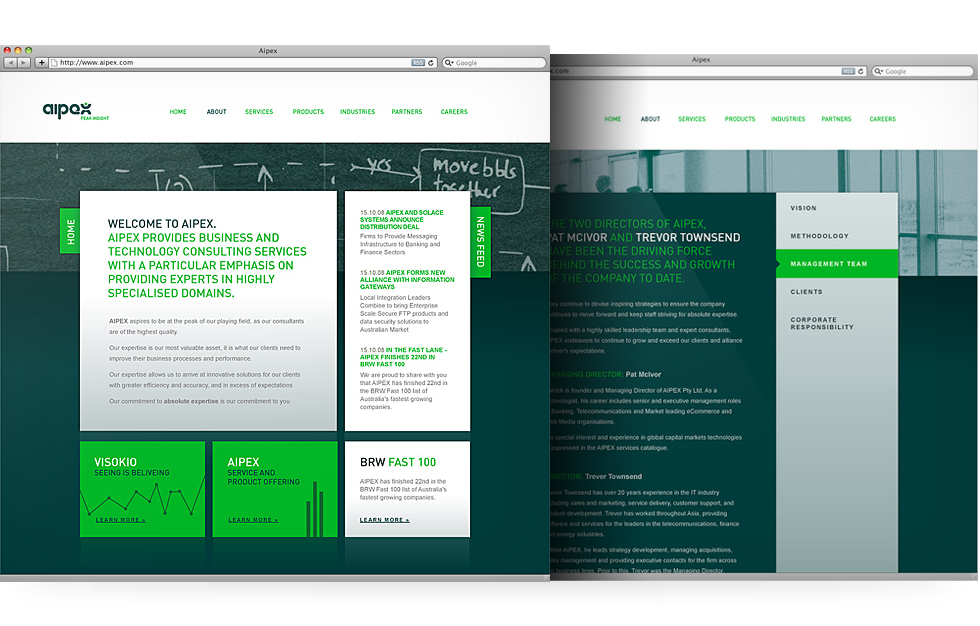 Aipex: website design and development