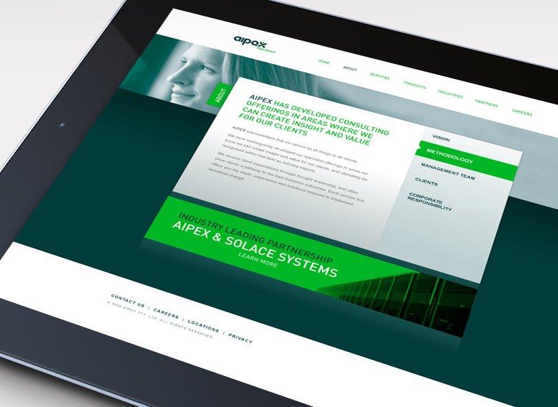 Aipex: website design iPad