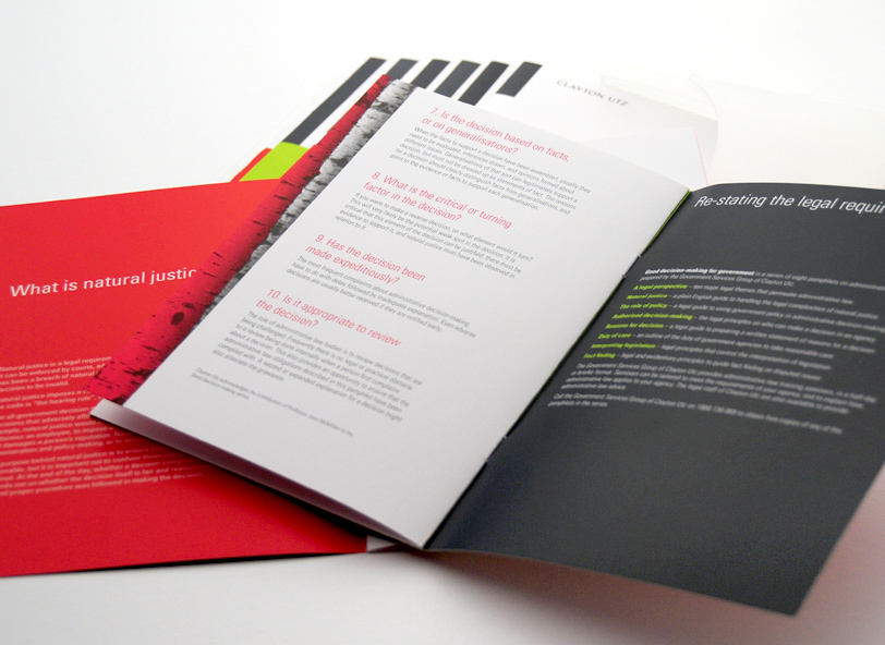 Clayton Utz: brochure design inside spread