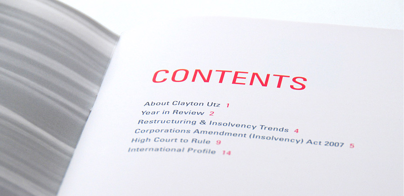 Clayton Utz: brochure contents