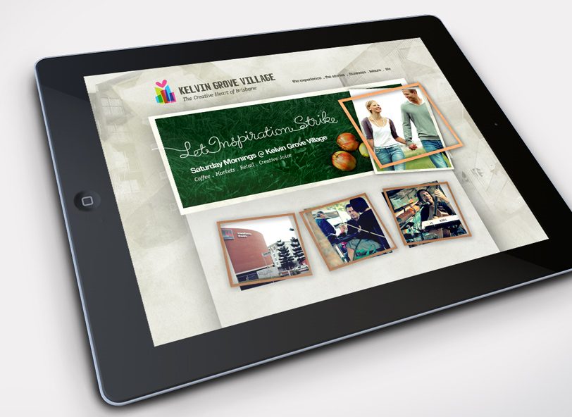 Kelvin Grove Village: website design iPad