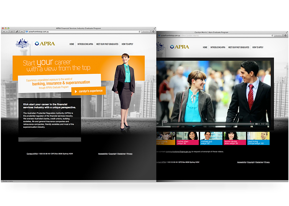 APRA Graduate Campaign website design and development