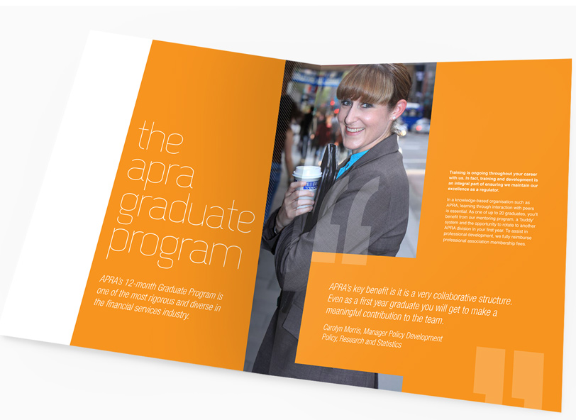 APRA Graduate Campaign brochure design custom photography