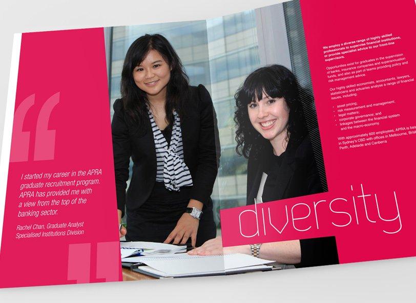 APRA Graduate Campaign visual identity: bold colours and type treatments