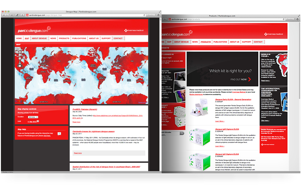 Panbio dengue website design and development