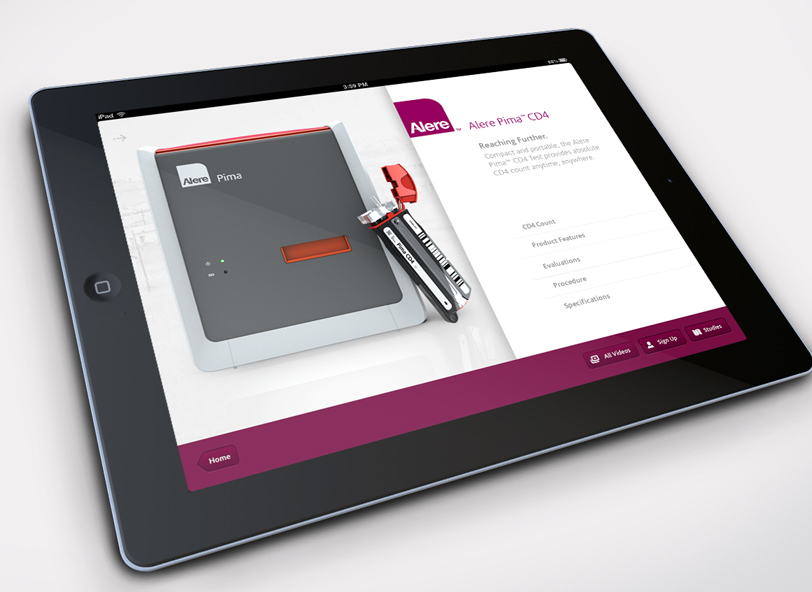 AlereHIV iPad app interactive product features