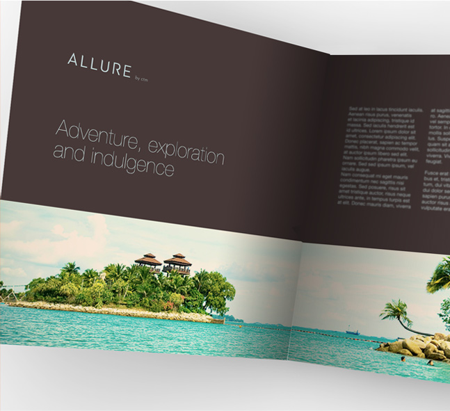 Allure Travel visual identity: brochure design