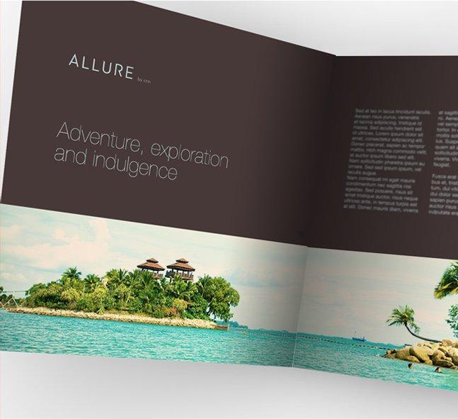 Allure Travel visual identity: brochure design