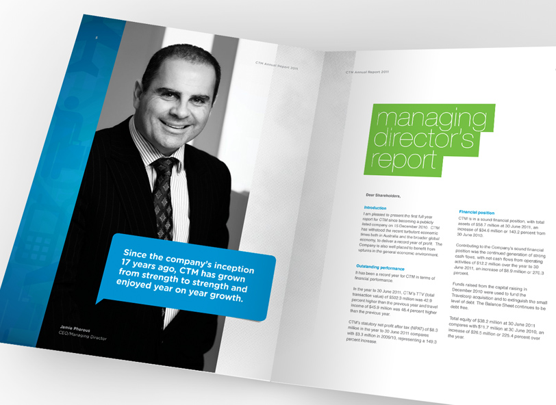 CTM: 2011 annual report spread