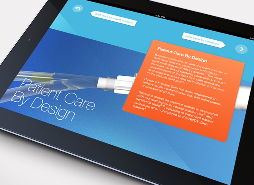 Baxter Freeline Solo iPad app: 3D product renders and simulations