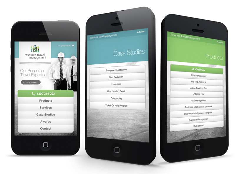 Resource Travel Management website smartphone