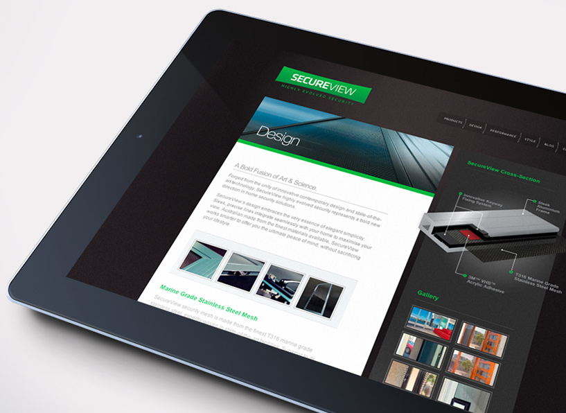 SecureView website iPad