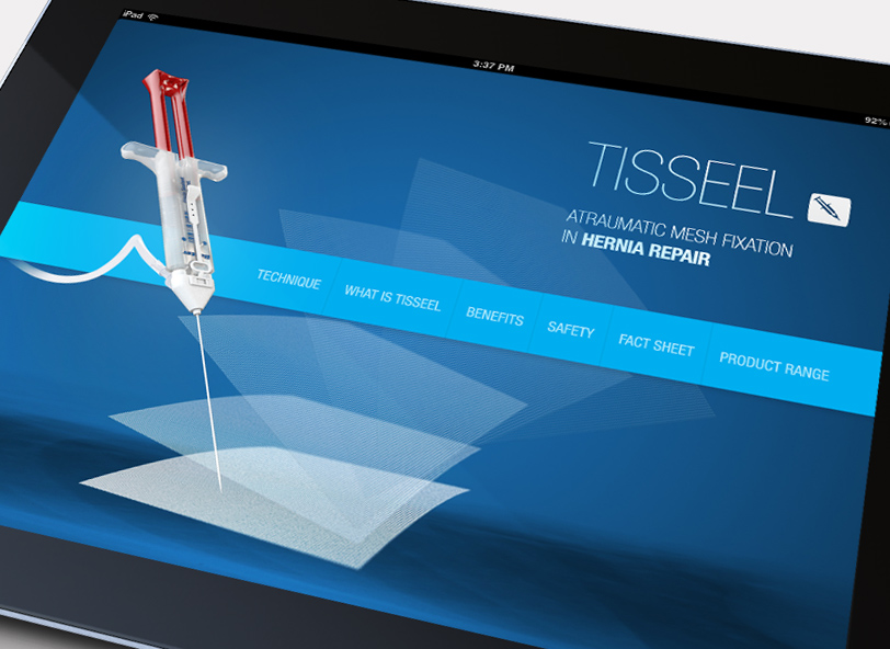 TISSEEL Hernia App UX and UI design